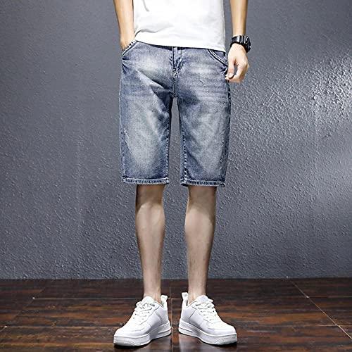 MZL Jogging Fitness Short Pants Pantalones Cortos de Mezclilla Hombres Casual Pantalones de Cinco Puntos Sueltos Pantalones de Playa Verano Adolescentes Pantalones Rotos -228 Azul_36 (85-90 kg)