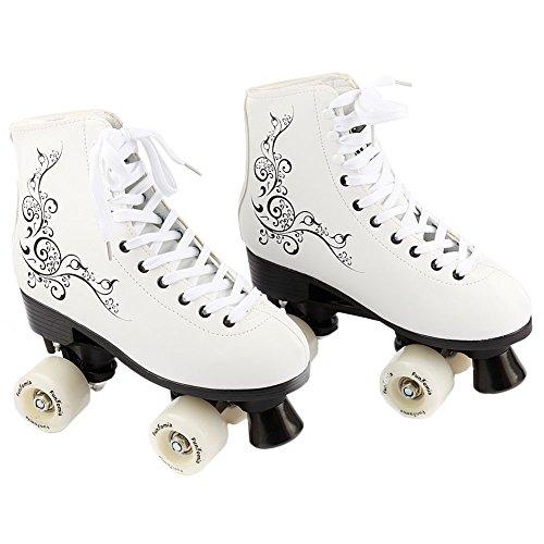 FunTomia Rollschuhe/Discoroller Größen 30-42 - Rollerskates Disco Roller Skate Indoor Outdoor (34, weiß)