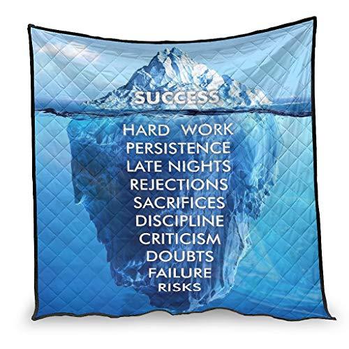 YshChemiy Success Inspirational - Colcha de algodón para silla de cama, antipilling mantas 3D impresas para adolescentes, 230 x 280 cm, color blanco