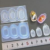 〈UVクラフトレジン〉 (S924)シリコンモールド キッチン雑貨 バスケット 長角 四角型 取手付き カゴ Sサイズ 食器 レジンや樹脂粘土でのミニチュア作りに