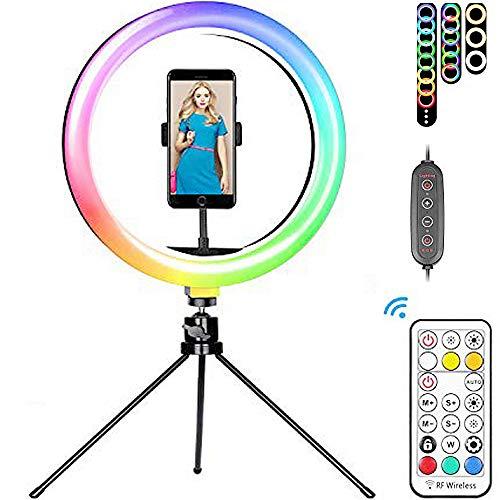 ZJING Trípode de luz de Anillo LED, luz de Anillo de Selfie de 10'con Control Remoto, Cambio de Color de 16RGB, luz de Anillo de Mesa para fotografía de Maquillaje Transmisión en Vivo Tiktok