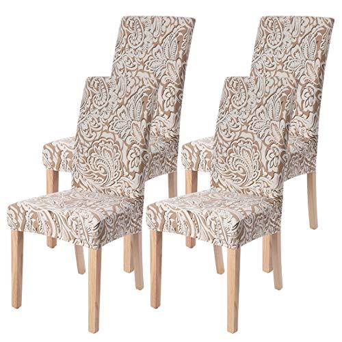 Jodimitty - Funda elástica universal para silla (4 unidades), lavable, impresa, elástica, para comedor, boda, hotel, restaurante