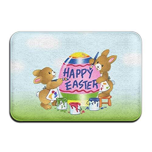 Novelcustom Happy Easter Bunnies Indoor Outdoor Doormats Super Absorbs Mud Dirt Easy Clean Cute Cat Floor Rug Door Mats 15.7\