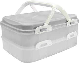 com-four® Caja de transporte de contenedores, caja de pasteles y caja de comestibles con 2 pisos e inserto de elevación, en color gris claro pastel (001 piezas - pastel gris claro)