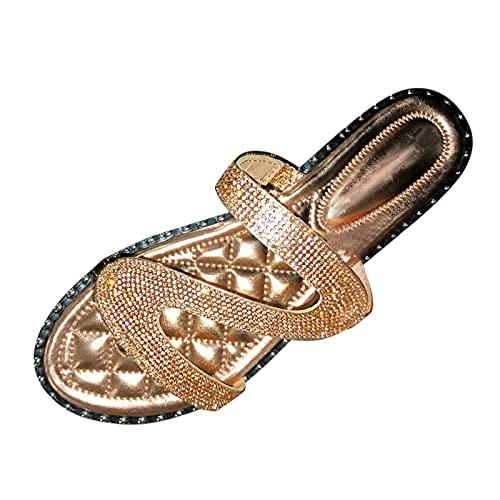 SJQ Sandalias para Mujer Elegantes Pisos de Verano con Diamantes de imitación para la Playa Chanclas Zapatillas Sandalias de Deslizamiento Casuales Chanclas sin Cordones Antideslizantes zapatill