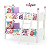 Emily Rose 14 Inch Doll Furniture Bed| 2 Single Stackable 14' Doll Beds | Doll Bunk Bed, Includes 2 Sets of Colorful 4 Piece Doll Bedding Sets & Ladder | Fits 14' Wellie Wishers and Glitter Girl