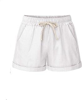 Women Short Pants, JOYFEEL ❤️ Ladies Cotton Linen Casual Elastic Waist Pants Drawstring Solid Summer Walking Shorts