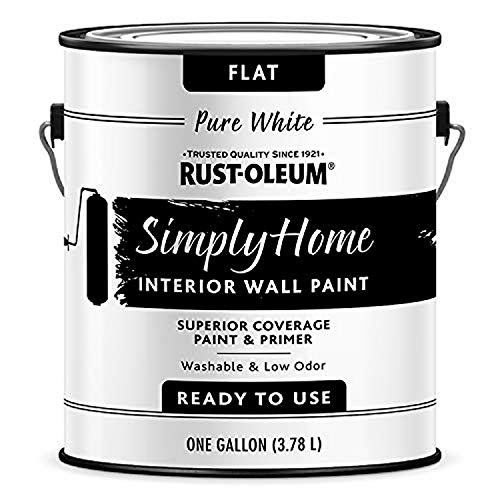 Rust-Oleum Simply Home Interior Wall Paint 332119 Simply Home Flat Interior Wall Paint, Pure White, 128 Fl Oz