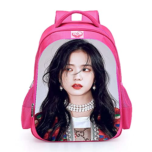 Mochila escolar Blackpink impermeable Jisoo Lisa Rose Jennie con imagen de color rosa, para niñas y adolescentes (Blink22)