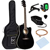 Best Choice Products 41in Full Size Beginner All Wood Cutaway Acoustic Guitar Starter Set with Case, Strap, Capo, Strings, Picks, Tuner -...
