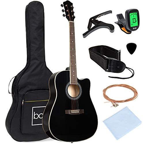 Best Choice Products 41in Full Size Beginner All Wood Acoustic Guitar Starter Set w/Case, Strap, Capo, Strings, Picks, Tuner - Black