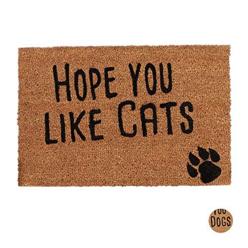 Relaxdays 10023816_243 Paillasson fibre de coco Hope You Like Cats 40x60 cm tapis d'entrée...