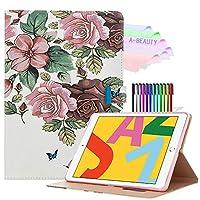 A-BEAUTY iPad 10.2ケース、iPad第7世代10.2インチ2019用スタンドケース、[無料ペン] [ブックカバーのデザイン] [自動スリープ/スリープ解除]、バラの花