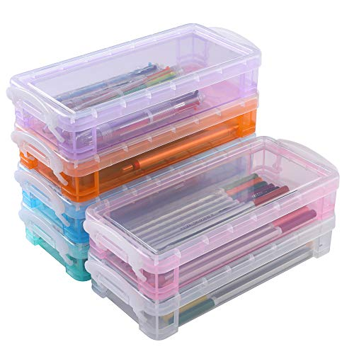 Stackable Large Pencil Case, 6 Pack Storage Box Container Desktop Organizer, Pencils Markers Crayons Pens Drawing Tools Boxes for Office School Home (Colorful)