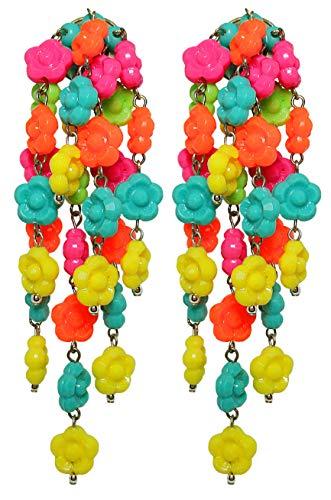 VINTAGE MULTICOLOR - Orecchini con clips, 7 pendenti di fiorellini Multicolore in resina, originali anni 60, nickel free, lunghezza cm. 9