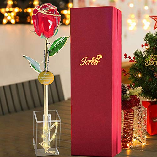 2021 Mothers Day Precious Gifts for Mom Grandma 24k Gold Rose Real Roses Never Fade with Angel Crystal Stand DecorMother#039s Day Anniversary Birthday Valentines Day Christmas Xmas