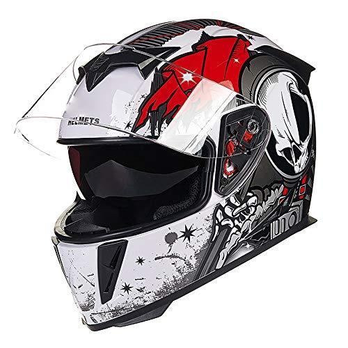 H-ei Casco de Casco de la Motocicleta, de la Cara Llena del Casco, Doble diseño de la Lente, Disponible en Todas Las Estaciones (Color : White Red, Size : X-Large)
