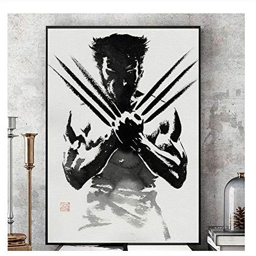 nr Wolverine Black and White Comic Wandkunst Leinwand Malerei Poster Für Wohnkultur Poster Und Drucke Dekorative Bilder-50x75 cm Kein Rahmen