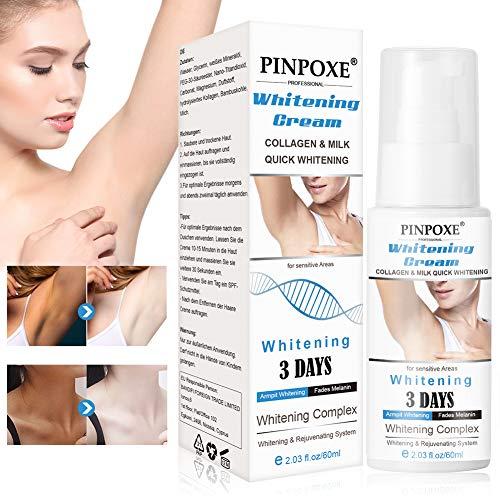 Underarm Whitening Cream, Aufhellende Creme, Whitening Cream, haut aufhellende creme, für dunkle Haut, Hals, empfindliche Bereiche, Ellenbogen,innere Oberschenkel,Knie Körper Achselhöhle Creme 60ML