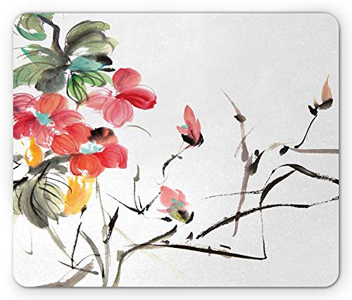 Drempad Gaming Mauspads, Japanese Mouse Pad, Popular Early Period Asian Watercolors Print with Vivid Floral Motifs Art Picture, Standard Size Rectangle Non-Slip Rubber Mousepad, Multicolor