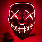 Sinwind LED Mascaras Halloween, LED Máscaras Carnaval, Mascaras Luces LED Neon Luminosas, Máscaras de la Purga, Craneo Esqueleto Mascaras para Cosplay Grimace Festival Fiesta Show(Rosado)