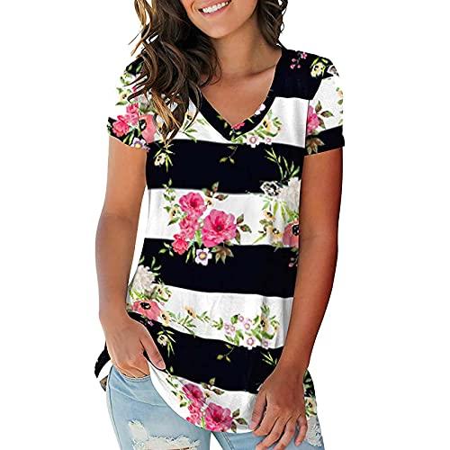 Camiseta Holgada de Manga Corta con Cuello en V Estampada para Mujer