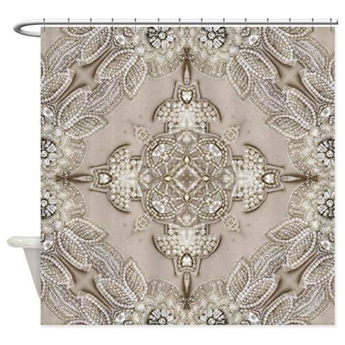 CafePress Glamorous Girly Rhinestone Lace Pea Decorative Fabric Shower Curtain