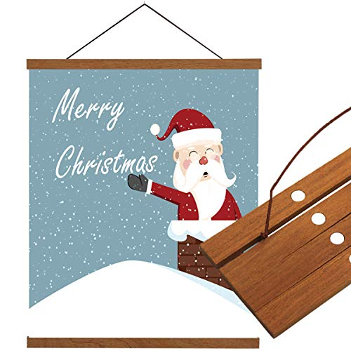 LEO BON Wall Art Canvas Hanging Poster Wood Frame Picture Santa Claus on Roof Christmas Themed Wall Hanging Teak Wood for Home Dorm Office 18x28inch