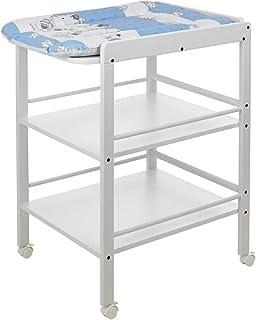 Geuther Table àLanger Clarissa blanche, Plan à langer + 2 étagères, roulettes