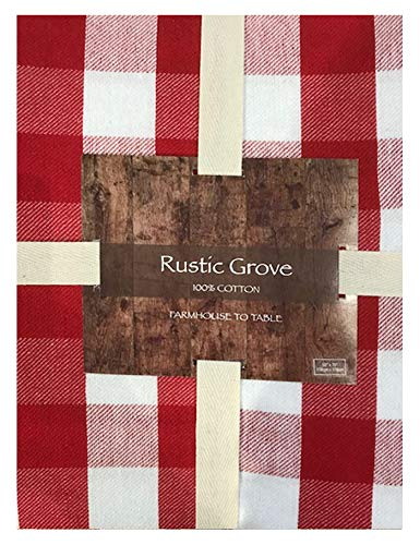 Lintex Farm Check Gingham Indoor/Outdoor Casual Cotton Tablecloth, Farm Buffalo Plaid 100% Cotton Weave Kitchen, Patio and Dining Room Tablecloth, 60 x 102 Oblong/Rectangle, Red
