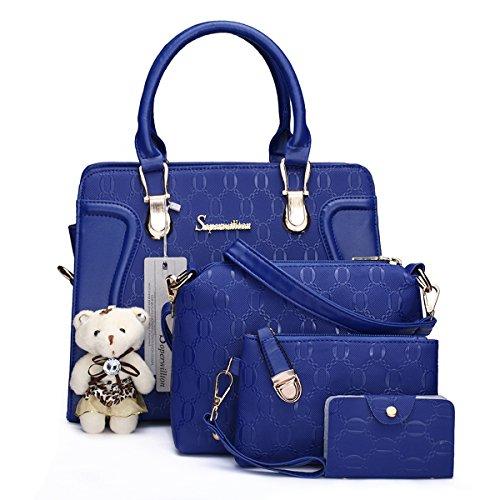 Bolsos de mano de moda para mujer, bolso de hombro, bolso de mano, bolso de mano, juego de 4 piezas, Azul / Patchwork, L