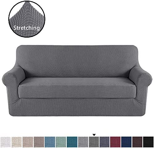 Best H.VERSAILTEX Stretch Sofa Covers 2 Piece for 3 Cushion Couch Covers Sofa Slipcovers Furniture Covers