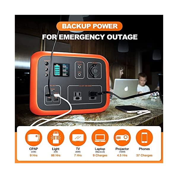 Portable Power Station 500Wh Backup Lithium Battery, 110V/300W with 2 Pure Sine Wave AC Outlets, Solar Generator with…