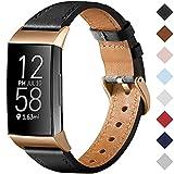 CeMiKa Armband Kompatibel mit Fitbit Charge 3 Armband/Fitbit Charge 4 Armband Leder, Klassisch Ersatzband für Charge 3 und Charge 4 Tracker, Schwarz/Roségold