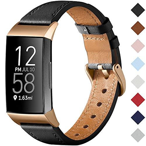 CeMiKa Cinturino Compatibile con Fitbit Charge 4 Cinturino/Fitbit Charge 3 Cinturino, Cinturino Sostitutivo Cinturino in Vera Pelle per Tracker Charge 3/Charge 4, Nero
