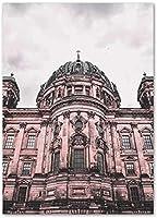 XCYPRO ピンクの教会の風景キャンバスポスターピンクの家の建築アート写真壁画リビングルームホーム北欧スタイルの壁アートの装飾/70X100Cmフレームなし