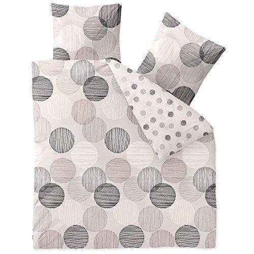 CelinaTex Touchme Biber Bettwäsche 200 x 220 cm 3teilig Baumwolle Bettbezug Filia Punkte weiß grau anthrazit