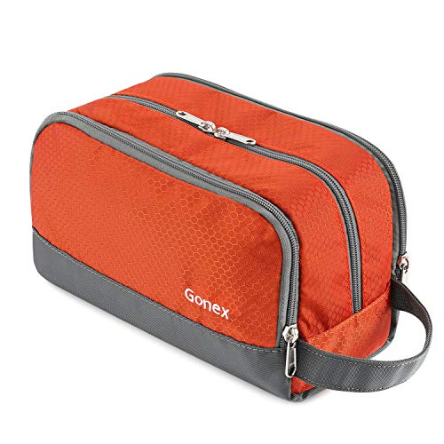 Gonex Travel Toiletry Bag Nylon, Dopp Kit Shaving Bag Toiletry Organizer Orange