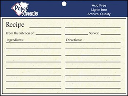 Accent Design Paper Accents Recipe Card 25pc RecipeCard 4x6 Birch