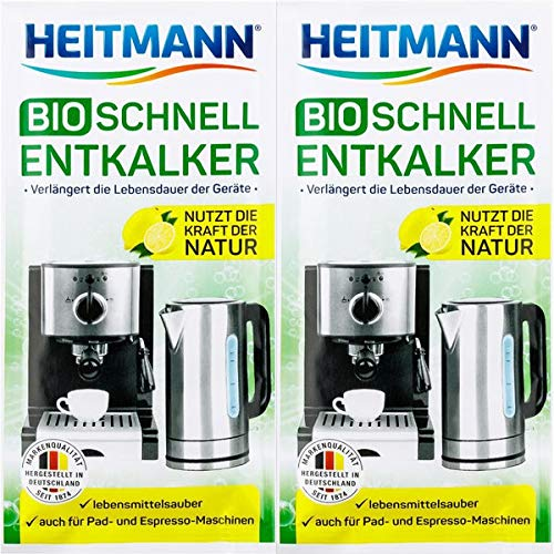 Organic Decalcifier | Organic Descaler | Descaling Solution for Coffee & Espresso Machines | 10 x 25 g Bags | Heitmann | Germany