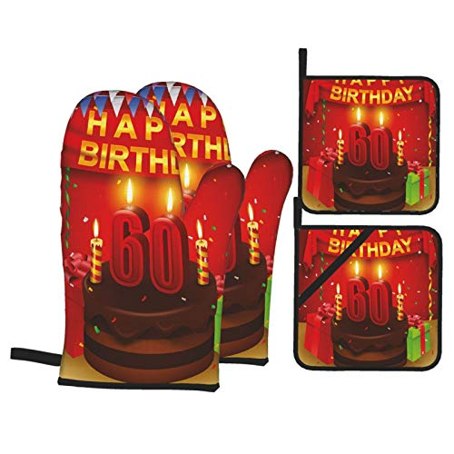 Alvaradod Oven Mitts and Pot Holders Sets of 4,Colorful Birthday Party Cakes Print,Polyester BBQ Gloves with Quilted Liner Resistant Hot Pads for Kitchen Cooking Baking Grilling