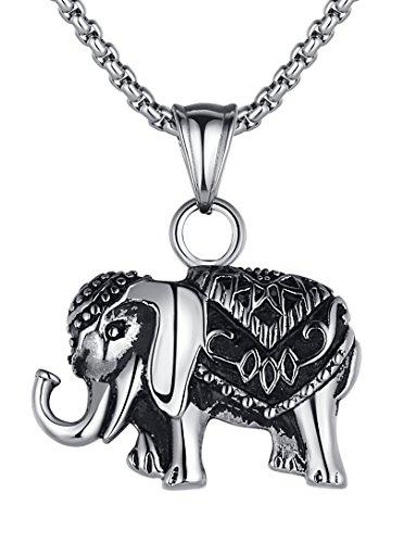 Arco Iris Schmuck Edelstahl Thailändisch Elefant unisex Anhänger Halskette mit 2.5mm (Breite) Rundgliederkette - G2022qy