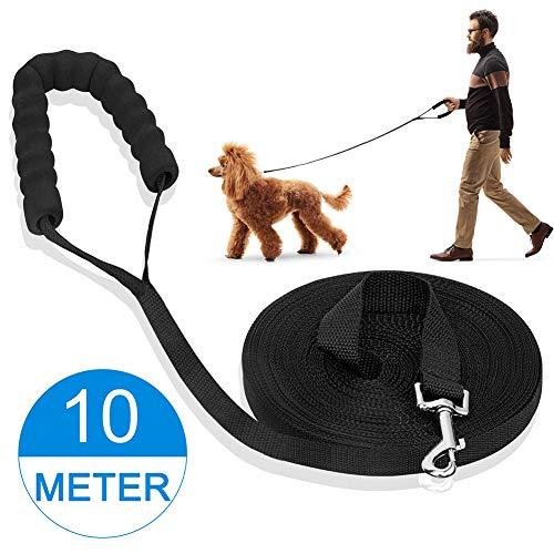 iNeego 10m Hundeleine Schleppleine 10m für Hunde Laufleine Trainingsleine für Hunde Hundeleine Große Hunde Wasserabweisend (10M, schwarz)
