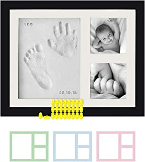 Baby Hand & Footprint Photo Frame Kit – For Baby Girls & Boys, Personalized Gift for Showers, Registries & More, Black Frame, by Kubai