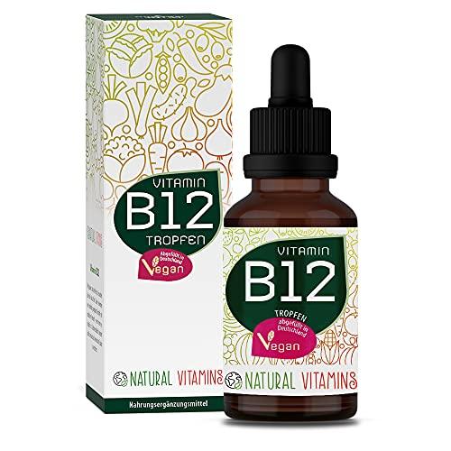NATURAL VITAMINS® Vitamine B12 Druppels Hoog Gedoseerd I 250µg per Druppel I Veganistisch & Alcoholvrij I Beide Actieve Vormen (Methyl- & Adenosylcobalamine) I 50ml (1700 Druppels)