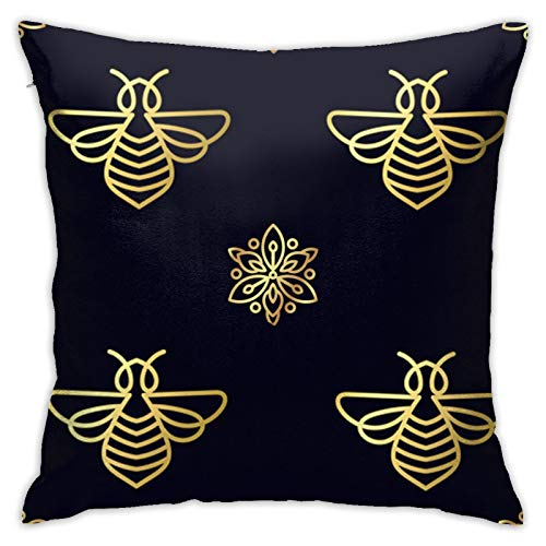 jhgfd7523 Throw Pillow Cover Bee Black Decorative Pillow Case Home Decor Square 18x18 Inches Pillowcase