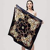 YUNYUN Bufandas de Seda para Mujer de Marca de Lujo, Protector Solar Cuadrado de...