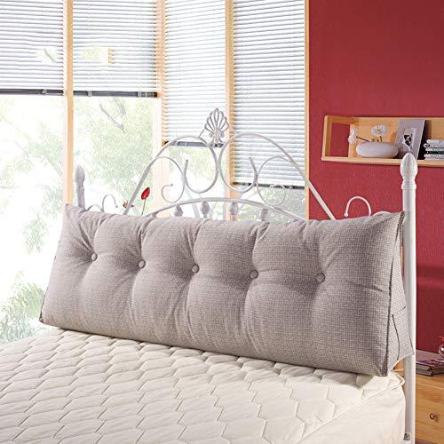 Leinen Rechteckig Bett Kopf Kissen Große Dreieckige Sofa Rückenlehne Weiche Tasche Tatami Bett Kissen, Rückenstützkissen Abnehmbaren Rückenpolster,Grau,100x50x20cm