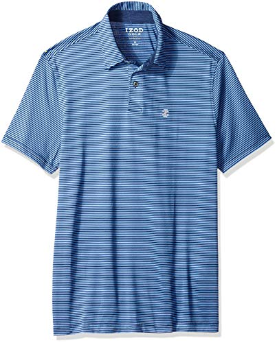 IZOD Men's Performance Golf Greenie Stripe Polo, New Club Blue, Large