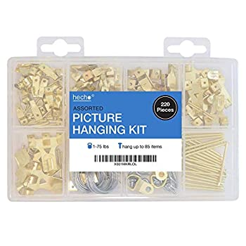 Assorted Picture Hanging Kit | 220 Piece Assortment with Wire Picture Hangers Hooks Nails and Hardware for Frames